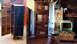 UNIQUE Steamer Trunk Armoire w Barn Wood Doors, Industrial Sliding Barn Door, Barn Beam Bench Display - Industrial Chic