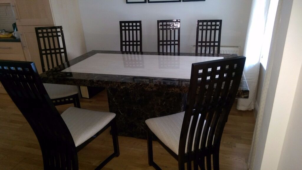 Marble Dining Table And 6 Chairs: Harveys Marble Dining Table And 6 Chairs, Coffee Table And