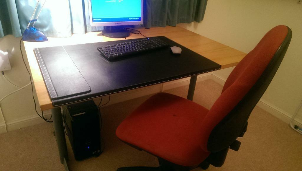 Home Office Desk With Black Ikea Rissla Pad And Chair