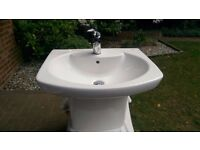 Roca Senso wall hung basin with demi-pedestal