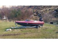PROJECT SPEED BOAT WITH 90HP MERCURY OUTBOARD ENGINE AND TRAILER