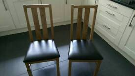 Two Dining Chairs Oak with Brown Faux Leather Seat