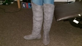New Look knee high grey suede boots, size 6