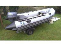 ZODIAC CLASSIC MK2C Boat trailer and Yamaha 15 hp outboard
