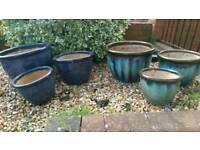 Stoneware garden plant pots 3x sizes 2 sets