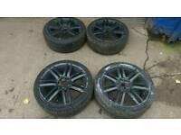 "Black 18"" alloys 5 stud Vw golf Audi a3 seat"