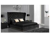 🛑⭕SAME DAY FREE LONDON DROP🛑⭕BRAND New Double OXFORD Crushed Velvet Wing Back Bed + Mattress Range
