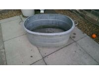 Vintage galvanised bath planter garden large
