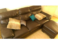Brown faux leather corner sofa in great condition