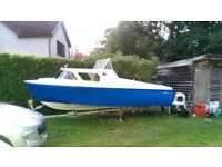 5 metre fibre glass day boat and trailer