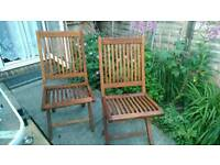 2 folding teak garden chairs