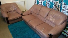 A 3 seater and 1 seater brown leather sofa
