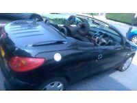 Peugeot 206 CC 1.6 2005 Black Convertible Low Mileage Excellent Condition Lady Owner MOT till 2017
