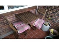 Garden/Balcony wooden table and matching chairs very good condition