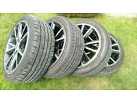 """ZCV 18"""" alloy wheels complete of 4 (225/40/R18 all 4 tyres in mint condition)"""