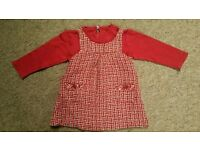 Baby girl set of two pinafore red dress with top size 9-12