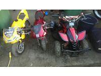 mini quad and 2 mini motos