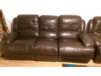 DARK BROWN LEATHER RECLINER SOFAS 3 piece 2 piece and 1 arm chair.