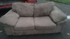 2 seater brown cord sofa in good condition
