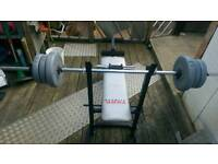 Weight bench +weights