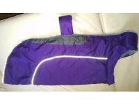 Lovely purple waterproof XL fleece-lined dog coat, reflective stripes and body strap