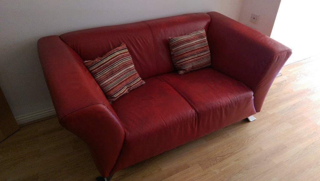 Red Leather 2 Seater Sofa In Greenock Inverclyde Gumtree