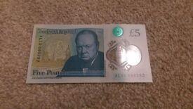 £5 Genuine polymer note, personalised AL1 (AL1)