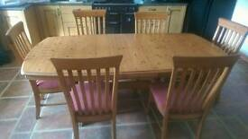 Pine table with chairs