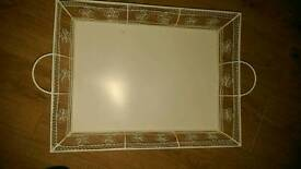 Shabby chic style metal tray.