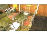 Bevelled Glass Top Table and 4 Chairs plus 2 Chairs