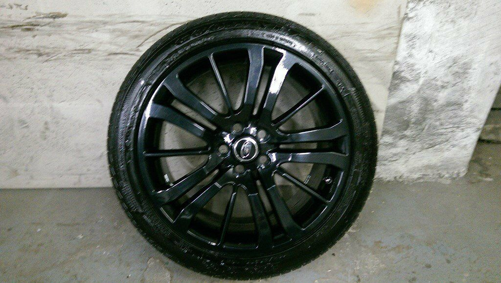 ALLOYS X 5 OF 20 INCH GENUINE RANGEROVER OR DISCOVERY FULLY POWDERCOATED IN STUNNING BLACKSPARKLE