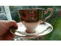 China tea set green, gold and white