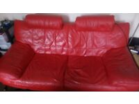 Quality Red Leather Sofa