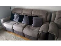 2x two tone grey electric recliner 3 seater sofas