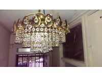 1970s Vintage Retro 5 Tier Wedding Cake Real Crystal Chandelier Ceiling Light