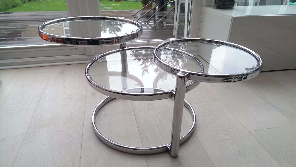 Ottawa Glass Coffee Table In Chrome With Swivel Motion Pick Up Only From Kt19