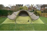4person pop up tent with accessories. Items include cooker, kettle,pans, dinner/breakfast set.