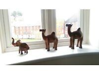 3 wooden animals for decoration