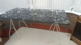 Floral Pattern Glass Table IKEA GLASHOLM SPECIAL W 150 x D 80 x H 70