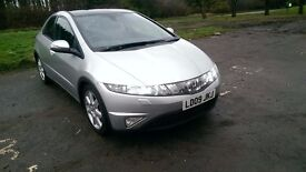 2009 Honda Civic 2.2ctdi, NEW MOT, 6 speed manual, black leather, 62k, excellent condition.