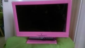 """Pink 12"""" TV with built-in DVD player. Remote and power supply"""