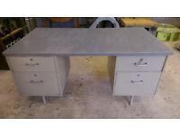 Reclaimed Vintage Military Industrial Metal Desk Engineers Desk Draughtsman Desk