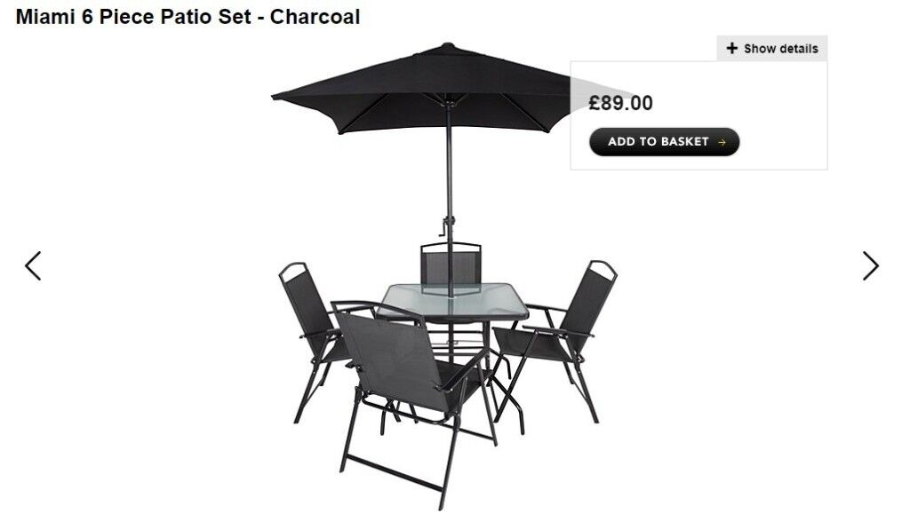 Asda George Miami 6 Piece Patio Set   NEW AND NEVER USED!!! RRP