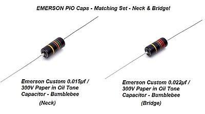 Emerson Paper In Oil Tone Capacitors (2) Neck & Bridge! NEW!!