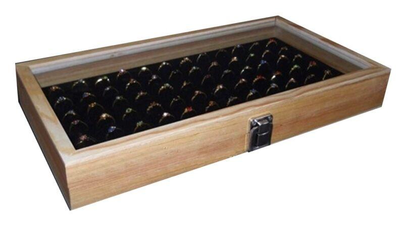 Natural Wood Glass Top Lid Black 72 Ring Jewelry Display Storage Box Case