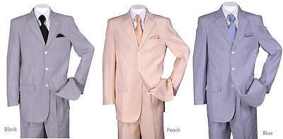 New Men's 3 button Seersucker Suit (Jacket&Pants) Black Peach Blue 38R~56L ST802 3 Button Black Mens Suit