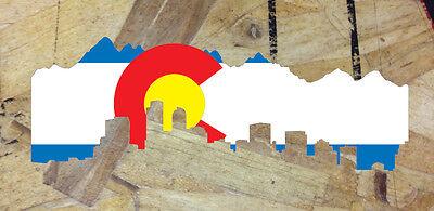 """CO Colorado State Flag Denver Skyline Sticker Decal Skyline Cutout- 6"""""""