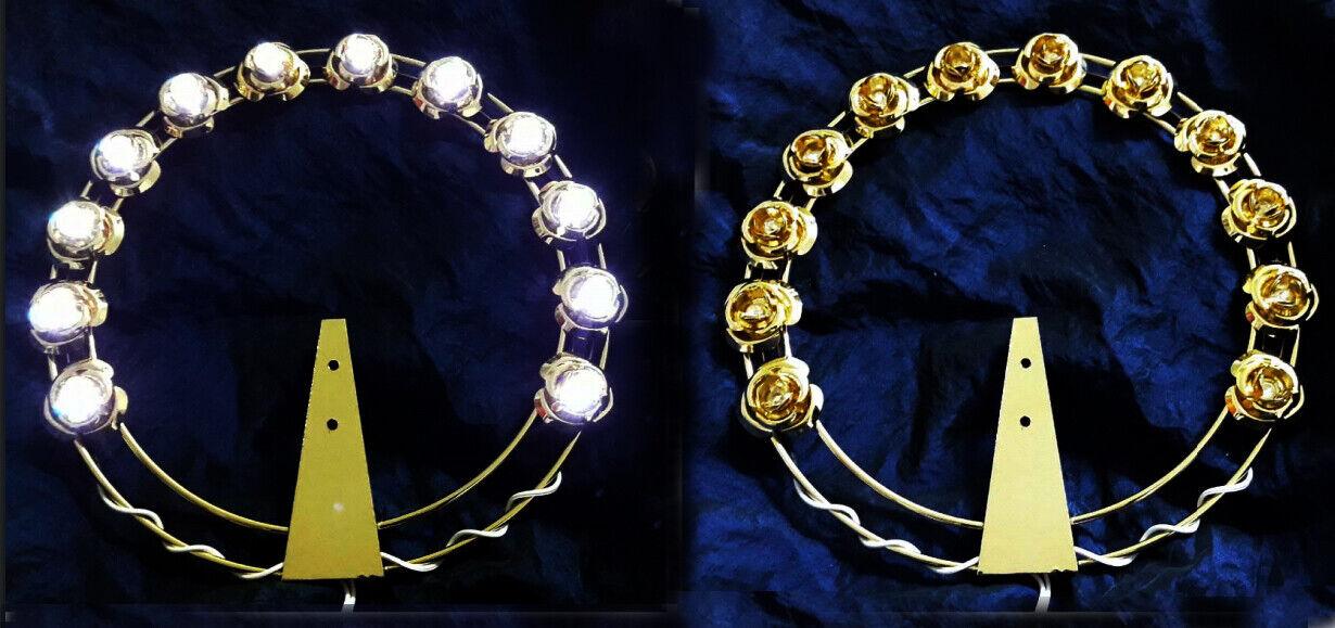 Aureola Stellario CON ROSE A Led Lumionose 12 volts Ottone Dorato Alta Qualità