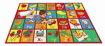 KIDS  SCHOOL CLASSROOM BEDROOM EDUCATIONAL ABC FOOD NON SKID GEL RUG  3' X 5'