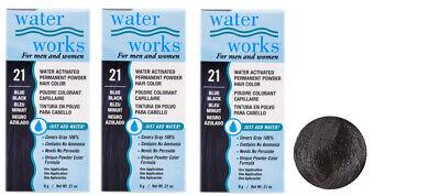 Blue Black Hair Dye - 3 X Water Works Ammonia Free/Peroxide Free Permanent Hair Dye Blue Black